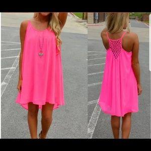 Pink Beach Dress Sizes S-XXL